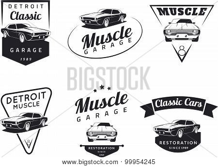 Classic muscle car club emblems