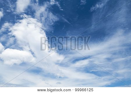 Cirrus, Cumulus And Altocumulus. Bright Blue Sky