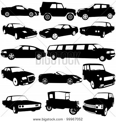 Set Black Silhouettes Of Different Types Of The Cars On White Ba
