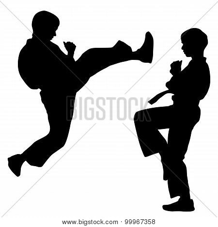 Black Silhouettes Of Karate. Sport Vector Illustration.