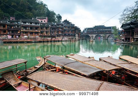 Moored Rowing Boats On The Tuojiang River, Fenghuang Ancient Town, China
