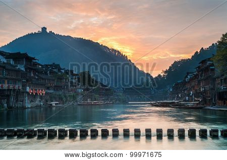 Sunrise On The Tuojiang River, Fenghuang, Hunan Province, China
