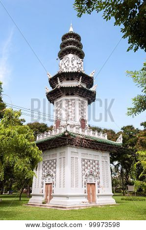 Chinese Clock Tower In Lumpini Park, Bangkok, Thailand