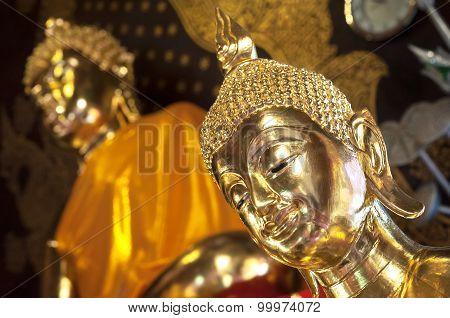 Golden Buddha At Wat Jet Yod, Chiang Mai, Thailand