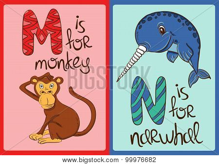 Children Alphabet With Funny Animals Monkey And Narwhal.