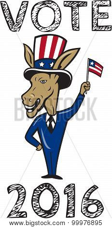 Vote 2016 Democrat Donkey Mascot Flag Cartoon