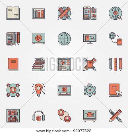 Colorful online education icons