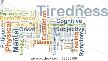 Background concept wordcloud illustration of tiredness