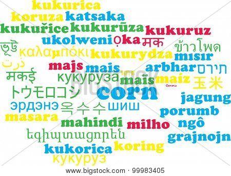 Background concept wordcloud multilanguage international many language illustration of corn