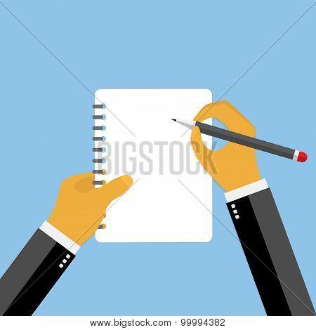 Businessman hand filling checklist