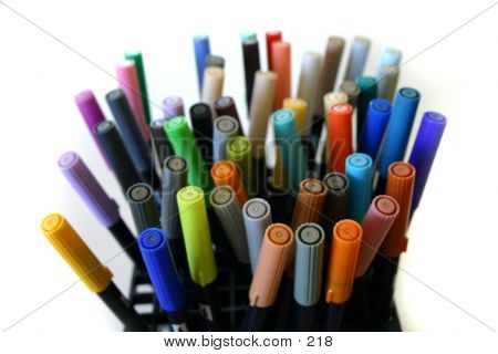 Colorful pens multi-color poster