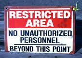 Restricted Area sign poster