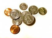 Coins quarters pennies dimes nickels change poster