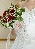 Wedding flowers bouquet and dress, 1000 px across, 300 dpi poster