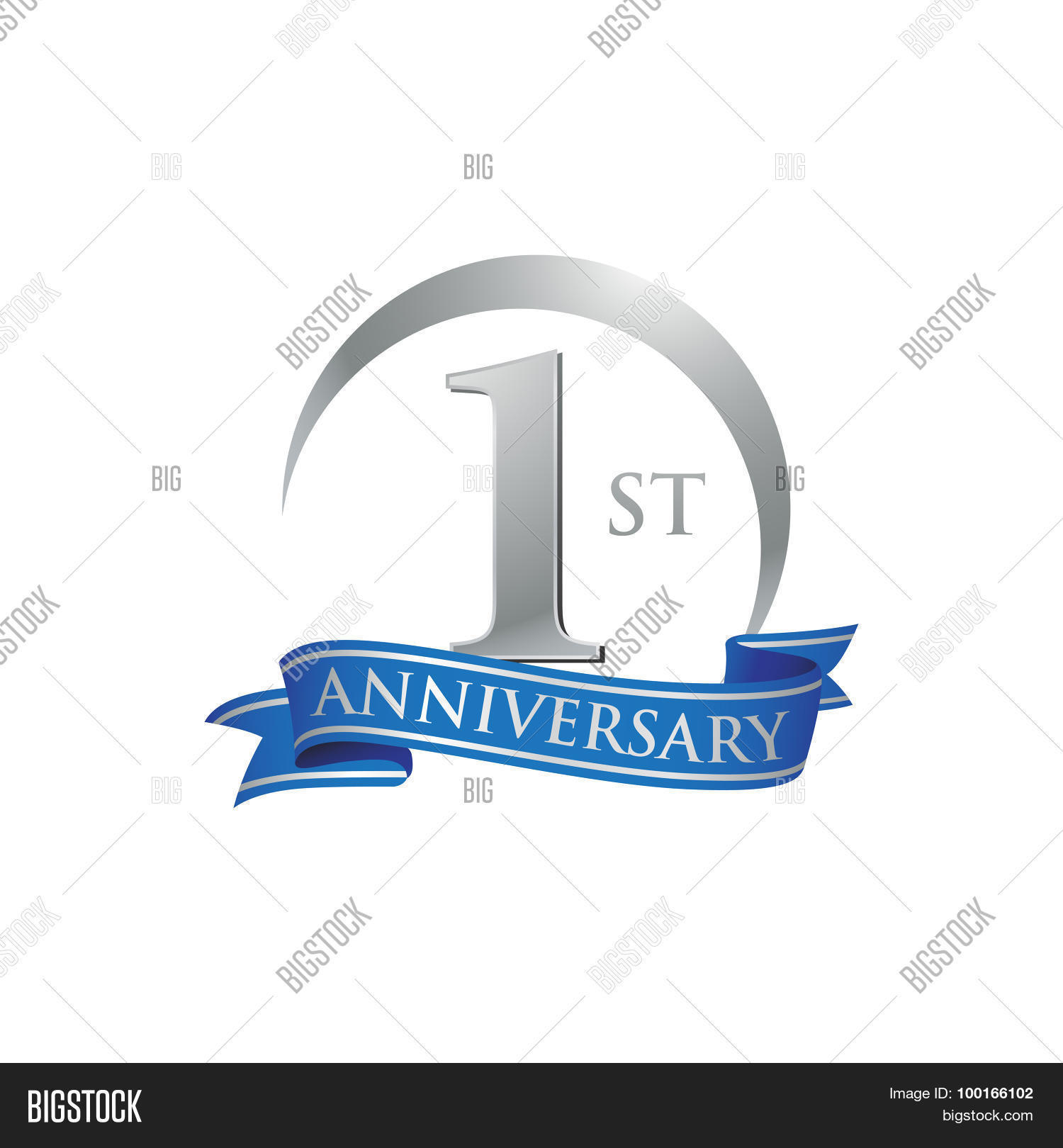 St anniversary ring logo blue ribbon stock vector