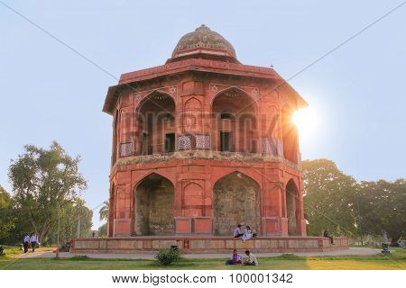 Delhi, India - November 6: Unidentified People Sit Near Humayns Library At Purana Qila On November 6
