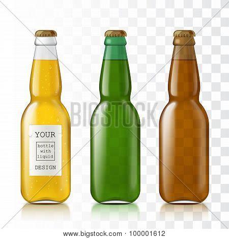 Set realistic glass bottles.