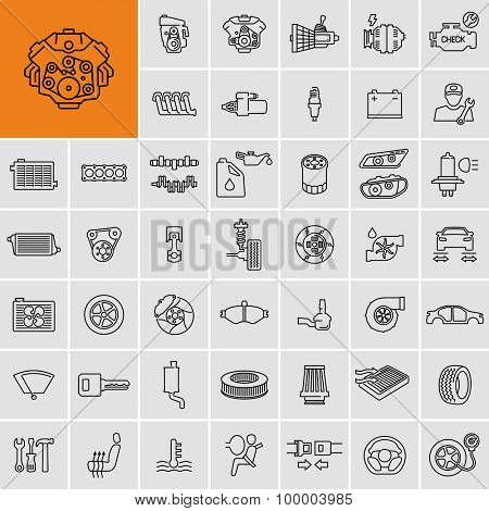Vector car parts set outline icons
