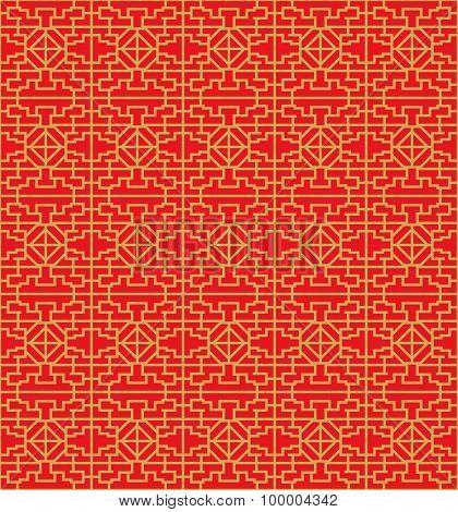 Golden seamless Chinese window tracery lattice diamond geometry line.