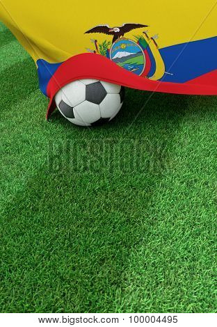 Soccer Ball And National Flag Of Ecuador,  Green Grass