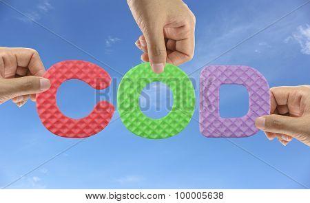Hand Arrange Alphabet Cod Of Acronym Chemical Oxygen Demand In Scientific Experimentation.
