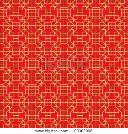 Golden seamless Chinese window tracery lattice square geometry line.