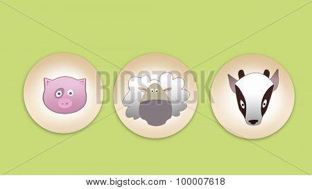 Pig, Sheep And Goat Flat Icon Set