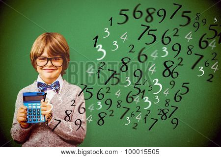 Pupil with calculator against green