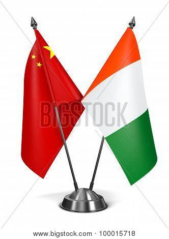China and Ivory Coast  - Miniature Flags.