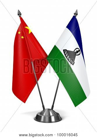 China and Lesotho - Miniature Flags.