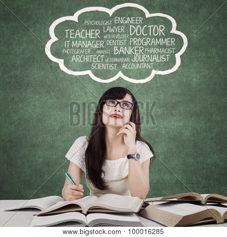 Clever Female Learner Imagine Her Dreams