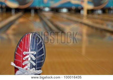 bowling shoe in bowling alley