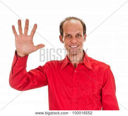 Portrait of happy smiling man showing five fingers