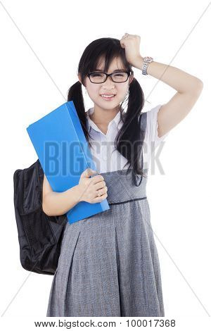 Frustrated Female Learner Standing In Studio