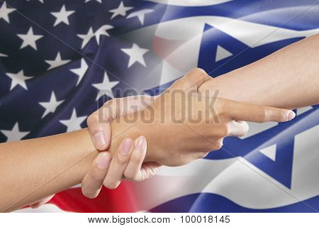 Helping Hands With American And Israel Flags