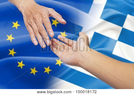 Helping Hands With Europe And Greece Flag