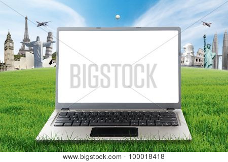 Laptop On Grass With The World Monuments