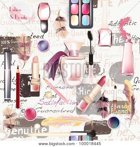 Seamless Fashion Pattern With Cosmetic