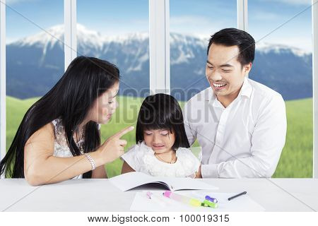 Sad Girl Scolded By Her Mother To Study