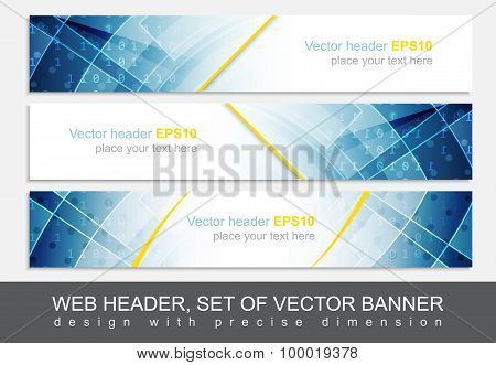 Set of web header footer or banner