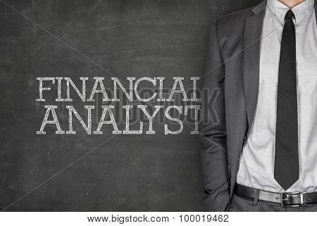 Financial analyst on blackboard