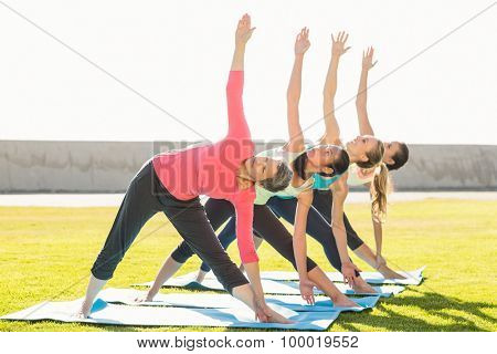 Sporty women doing triangle pose in yoga class in parkland