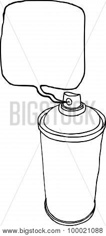 spray can hand drawn liquid line on a white background