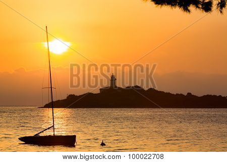 light house abd sailing boat in Majorca