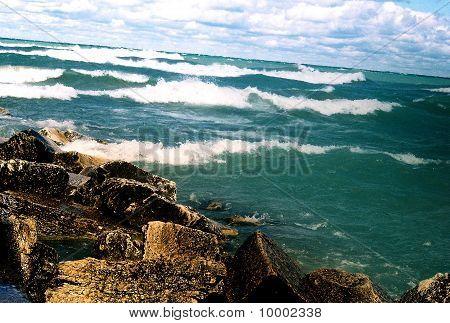 calm rocks incoming waves