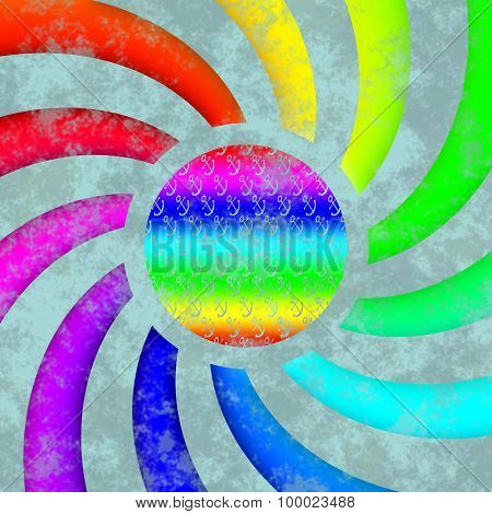 Rainbow Colored Swirl With Anchor Design