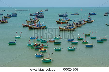 Many Boats Docking In Fishing Pier