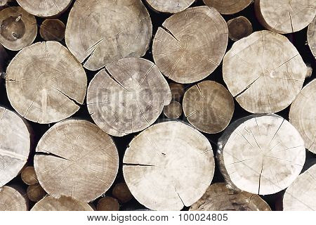 Pile Of Large Timber Beams