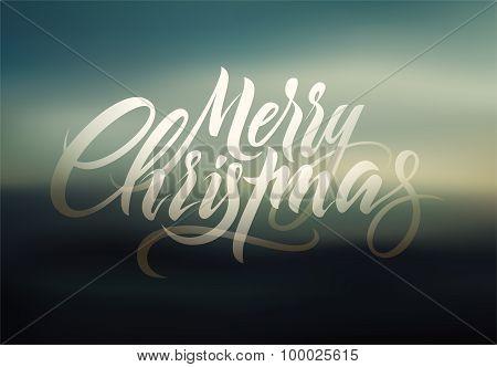 Merry Christmas. Calligraphic retro Christmas greeting card design on blurry background. Vector illu
