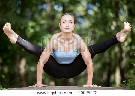 Yoga Girl Working Out In Forest